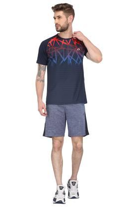 Mens Round Neck Printed Sports T-Shirt