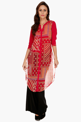 FUSION BEATS Womens Slim Fit Printed Kurta