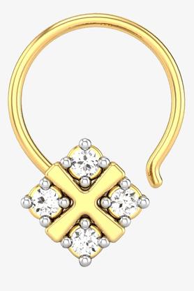 VELVETCASEWomens 18 Karat Yellow Gold Nose Ring (Free Diamond Pendant) - 201064999