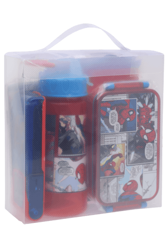 Boys Spiderman Tiffin Box Water Bottle and Stationary Combo Set