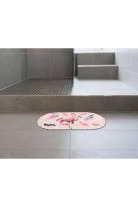 Oval Flamingo Printed Shower Mat
