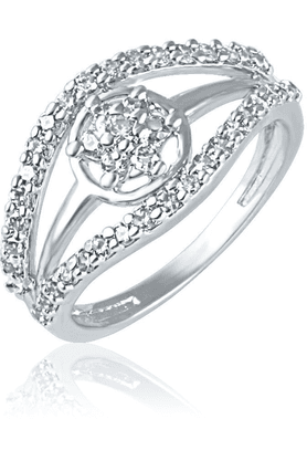 MAHIMahi Rhodium Plated Cluster Shine Ring With CZ Stones For Women FR1100441R