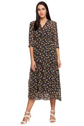 Womens Mandarin Collar Floral Printed Midi Dress