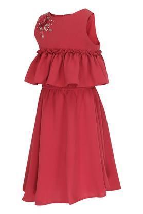 Girls Round Neck Embellished Flared Dress