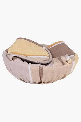 The Barcode Stripes 100% Cotton 1 Bread Basket - Beige