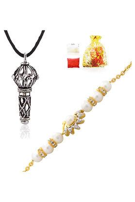 MAHI Combo Of The Swan Rakhi And Lord Hanuman Silver Plated Pendant