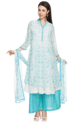 BIBA Womens Printed Anarkali Suit With Palazzo Pants - 200737259