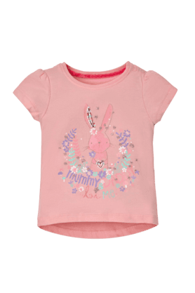 MOTHERCARE Girls Cotton Round Neck Cap Sleeves Printed Tee