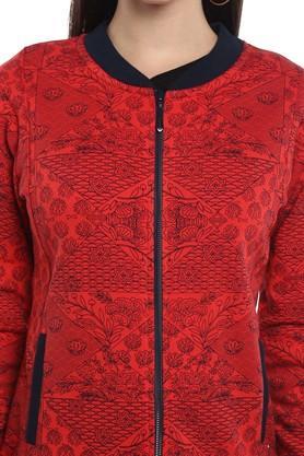Womens Zip Through Neck Printed Sweatshirt