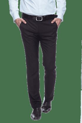 PARK AVENUEMens Flat Front Slim Fit Solid Formal Trouser - 200212284