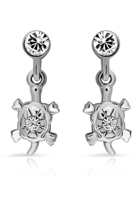 MAHI Mahi Rhodium Plated Ravishing Danglers Earrings With Crystals For Women ER1103707R