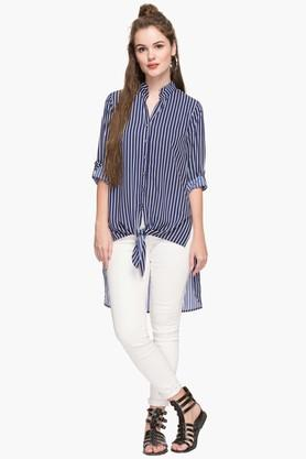 Womens Collared Dipped Hem Stripe Shirt