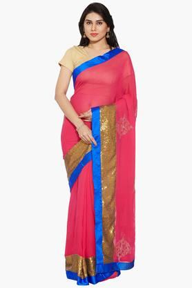 Women Georgette Saree With Stone Motif Sequinned Border