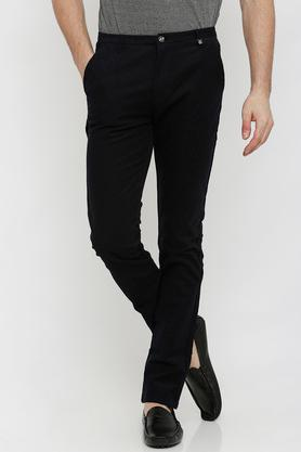 Mens Slim Fit Self Print Trousers