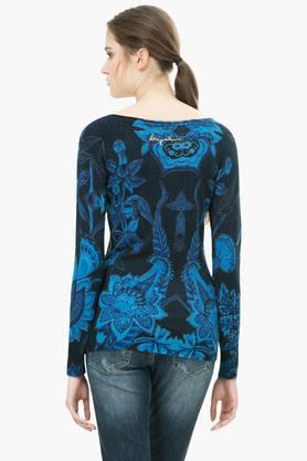 Womens V Neck Printed Embellished Pullover