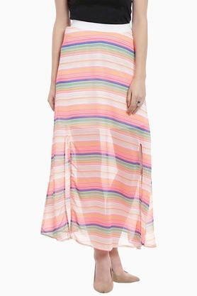 ZINK LONDON Womens Stripe Long Slitted Skirt
