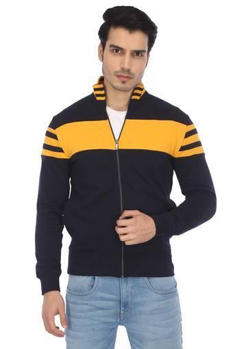 Mens Zip Through Neck Colour Block Sweatshirt