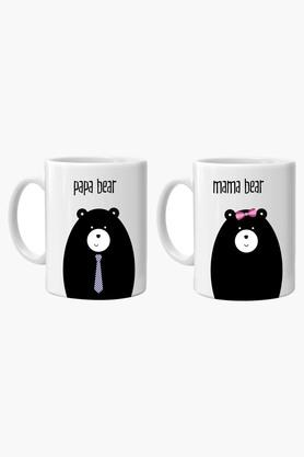 CRUDE AREA Multi Color Bear Mugs Printed Ceramic Coffee Mug Set Of 2