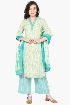 BIBA Womens Cotton Straight Suit Set - 202179805