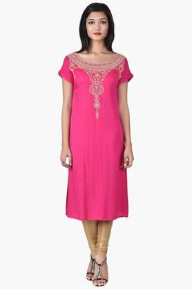 JUNIPER Women Zari Embroidered Kurta - 201932920