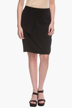 Womens Solid Knee Length Skirt