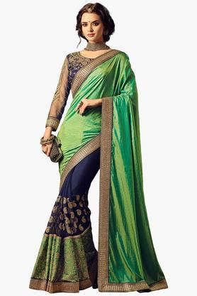 ISHIN Women Net With Silk Butti Pallu & Embroidered Saree