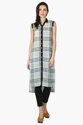 JUNIPER Womens Collared Long Kurta - 202312511