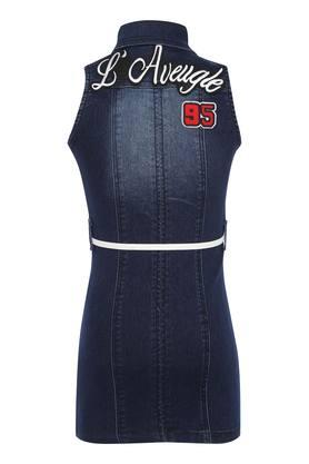 Girls Collared Mild Wash Applique Dress with Belt