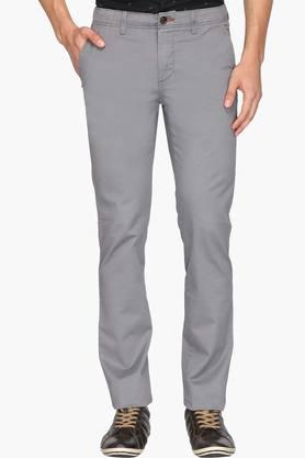 ALLEN SOLLY Mens Slim Fit 4 Pocket Solid Trousers