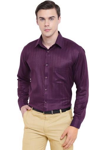 Mens Regular Fit Self Printed Formal Shirt