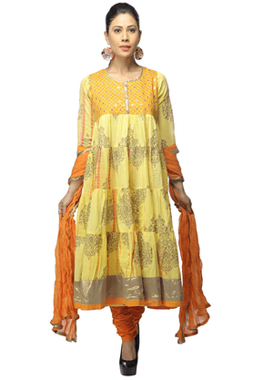 HAUTE CURRYWomen Cotton Anarkali Churidar Suits