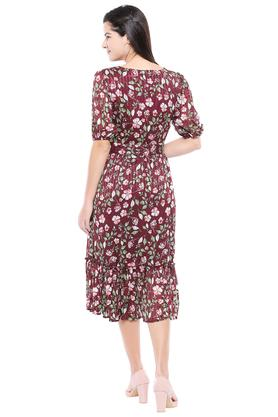 Womens Square Neck Floral Printed Midi Dress