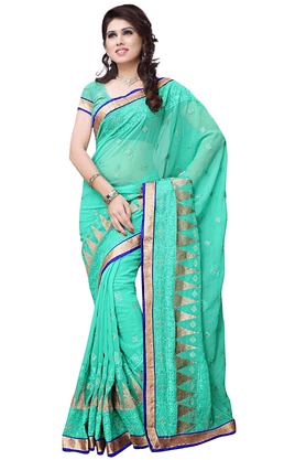 DEMARCA De Marca Green Georgette Designer DF-540A Saree