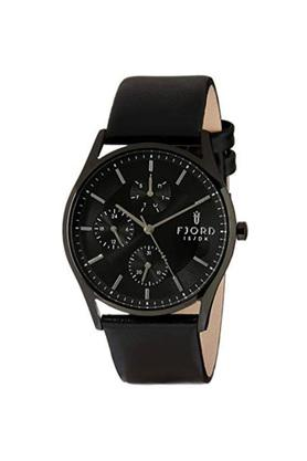 Mens Black Dial Leather Multi-Function Watch - 414642