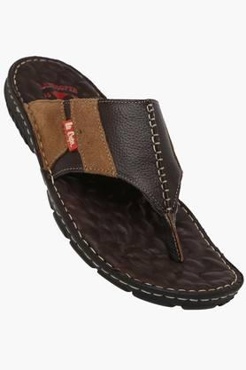 LEE COOPER Mens Leather Slip On Slippers  ...