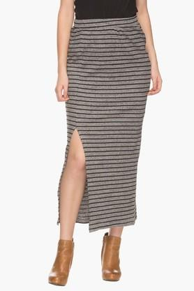 ELLE Womens Stripe Slitted Long Skirt