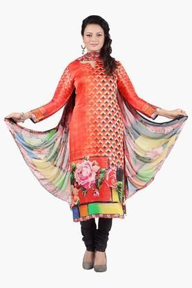 JASHNWomen Floral Print Chanderi Churidaar Kameez Dupatta
