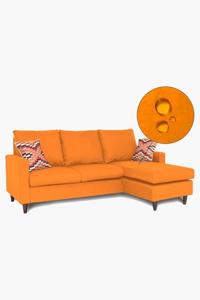 Orange Water Repellent Fabric Sofa (2 Seater - 1 Lounger)