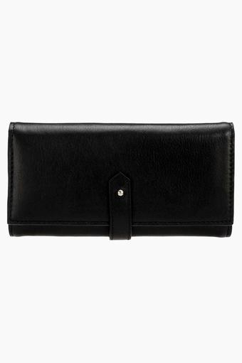 Womens Leather Snap & Zipper Closure Wallet