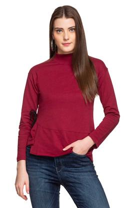 Womens High Neck Solid Sweatshirt