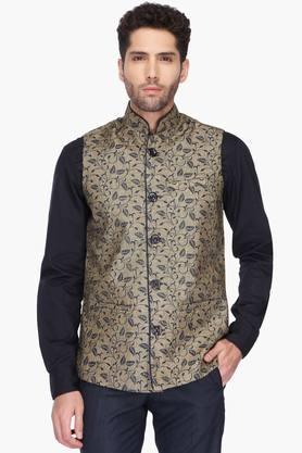 VETTORIO FRATINIMens Mao Collar Printed Nehru Jacket - 201590442