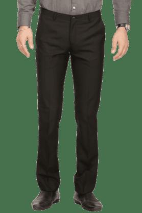 BLACKBERRYSMens Flat Front Slim Fit Solid Formal Trousers - 200294140