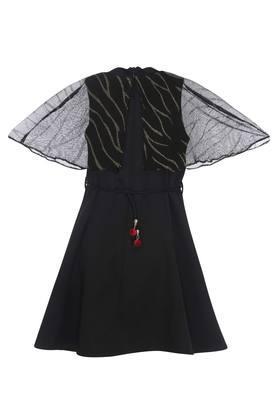Girls Key Hole Neck Solid A-Line Dress