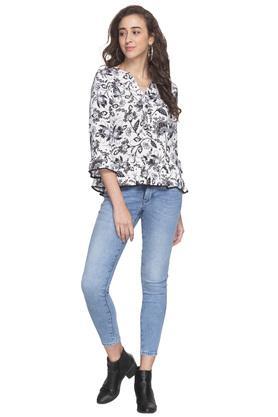 Womens Mandarin Collar Floral Printed Top
