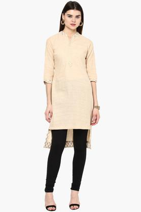 RANGRITI Womens Mandarin Neck Stripe High Low Kurta