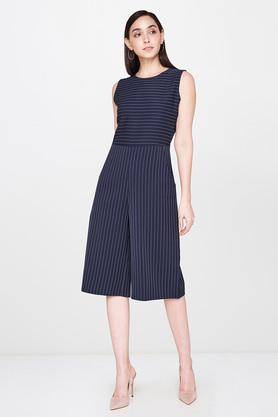 Womens Round Neck Striped Playsuit