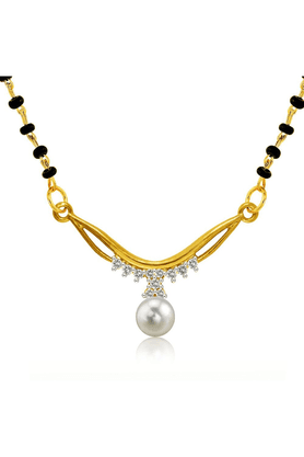 MAHIMahi Gold Plated Festive Delight Mangalsutra Set Of Brass Alloy With CZ For Women NL1101511G