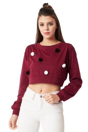 Womens Round Neck Pompom Detailing Crop Top