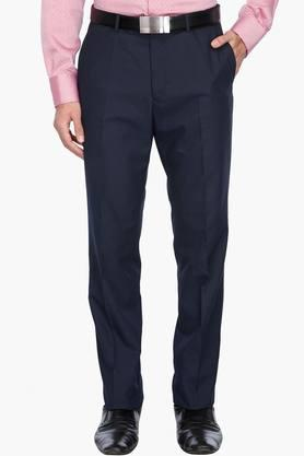WILLS LIFESTYLE Mens 4 Pocket Solid Formal Trousers - 201730283