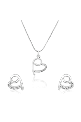 MAHI Mahi Rhodium Plated Peppy Heart Pendant Set With White Crystals For Women NL1101762RWhi